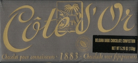 "Cote d'or Belgian Chocolate - Belgian Dark Chocolate ""Noir de Noir"" 56% Cocoa, 150g/5.3oz."
