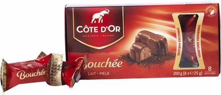 "Cote d'or Belgian Chocolate - ""Bouchee"" Milk Chocolate with Hazelnut Creme Filling, 8 Pcs, 200g/7.05oz. (12 Pack)"