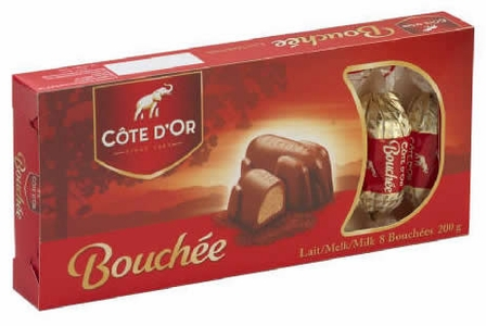 "Cote d'or Belgian Chocolate - ""Bouchee"" Milk Chocolate with Hazelnut Creme Filling, 8 Pcs, 200g/7.05oz."