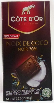 "Cote d'or Belgian Chocolate - ""Noix de Coco"" 70% Cocoa Dark Chocolate with Coconut, 100g/3.5oz."