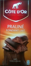 Cote d'or Belgian Chocolate - Praline Fondant Lait Belgian Milk Chocolate Confection with Praline Filling, 7.05/200g (Single)