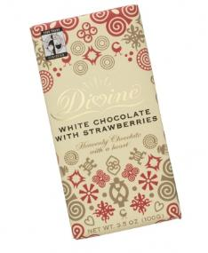 """Divine """"Fair Trade"""" 25% White Chocolate with Strawberries, 100g/3.5oz. (5 Pack)"""