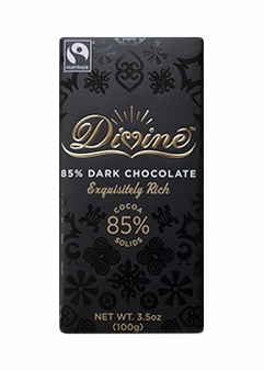 "Divine ""Fair Trade"" Divine Dark Chocolate 85% Dark Chocolate 100g/3.5oz. (5 Pack)"
