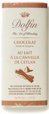 Dolfin Belgian Chocolate - 32% Cocoa Milk Chocolate Bar with Cinnamon , 70g/2.47oz.