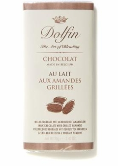 Dolfin Belgian Chocolate - 32% Cocoa Milk Chocolate Bar with Grilled Almonds, 70g/2.47oz. (Single)