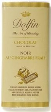 Dolfin Belgian Chocolate - 52% Cocoa Dark Chocolate Bar with Fresh Ginger, 70g/2.47oz.(Single)