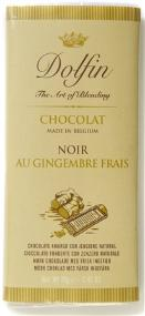 Dolfin Belgian Chocolate - 52% Cocoa Dark Chocolate Bar with Fresh Ginger, 70g/2.47oz.  (5 Pack)