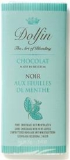 Dolfin Belgian Chocolate - 52% Cocoa Dark Chocolate Bar with Mint Leaves, 70g/2.47oz.