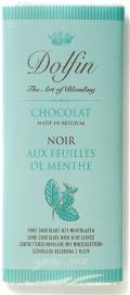 Dolfin Belgian Chocolate - 52% Cocoa Dark Chocolate Bar with Mint Leaves, 70g/2.47oz.(Single)