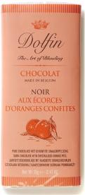 Dolfin Belgian Chocolate - 52% Cocoa Dark Chocolate Bar with Orange Peel, 70g/2.47oz.(Single)