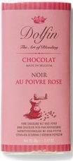 Dolfin Belgian Chocolate - 52% Cocoa Dark Chocolate Bar with Pink Peppercorn, 70g/2.47oz.(Single)