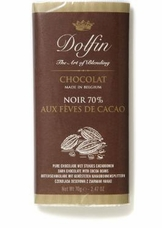 Dolfin Belgian Chocolate - 70% Cocoa Extra Dark Chocolate Bar with Cocoa Beans, 70g/2.47oz.