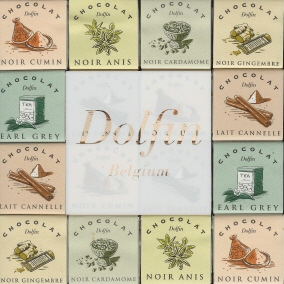 "Dolfin Belgian Chocolate - ""Dark & Milk Spice Assortment"" Ginger, Earl Grey, Cinnamon, cardomom, aniseed, cumin. 216g/7.6oz  (5 Pack)"