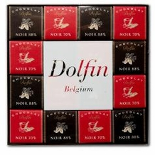 "Dolfin Belgian Chocolate - ""Ebene Assortment"" (Extra bitter- 70% and 88% cocoa) 48 piece box, 216g/7.6oz"
