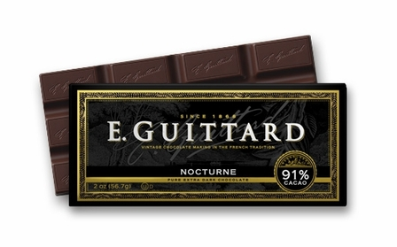 "E. Guittard Chocolate - ""Nocturne"" Extra-Bittersweet Chocolate Bar, 91% Cocoa, 56.7g/2.0oz. (6 Pack)"