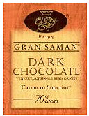 "El Rey Venezuelan Chocolate - Single Origin ""Gran Saman"" Dark Bar, 70% Cocoa, 80g/2.8oz. (Single)"