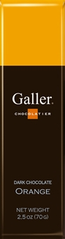 Galler Belgian Chocolate - Dark Chocolate Orange Naturally Flavored Cocoa, 70g/2.5oz (Single)