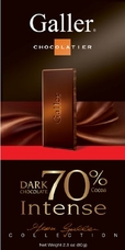 "Galler Belgian Chocolate - ""Noir Intense"" Dark Bar 70% Cocoa, 80g/2.8oz."