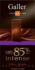 "Galler Belgian Chocolate - ""Intense 85"" Dark Chocolate Bar 85% Cocoa, 80g/2.8oz."