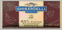 "Ghirardelli Chocolate - ""Bittersweet Chocolate"" Premium Baking Bar, 60% Cocoa, 113g/4oz."