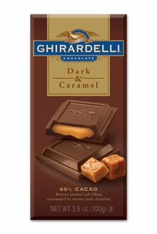 "Ghirardelli Chocolate - ""Dark Chocolate with Caramel"", 60% Cocoa, 100g/3.5oz."