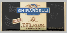 "Ghirardelli Chocolate - ""Extra Bittersweet Chocolate"" Premium Baking Bar, 70% Cocoa, 113g/4oz."