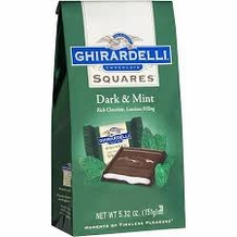Ghirardelli Chocolate - Ghirardelli Chocolate Squares Dark & Mint Rich Chocolate, Luscious Filling, 5.32 oz Bag (Single)