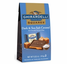 Ghirardelli Chocolate - Ghirardelli Chocolate Squares Dark & Sea Salt Caramel Rich Chocolate, Luscious Filling, 5.32 oz Bag (Single)