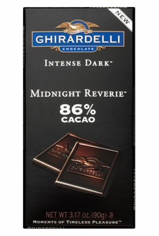 "Ghirardelli Chocolate - Intense Dark Chocolate, ""Midnight Reverie"", 86% Cocoa, 100g/3.5oz."