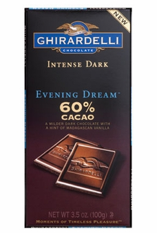 "Ghirardelli Chocolate - Intense Dark Chocolate with a hint of Madagascan Vanilla, ""Evening Dream"", 60% Cocoa, 100g/3.5oz. (Single)"