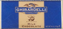"Ghirardelli Chocolate - ""Milk Chocolate"" Premium Baking Bar, 113g/4oz."