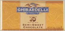 "Ghirardelli Chocolate - ""Semi-Sweet Chocolate"" Premium Baking Bar, 113g/4oz."