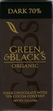 Green & Black�s Organic Chocolate - Dark Chocolate Bar, 70% cocoa, 100g/3.5oz.
