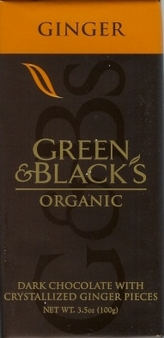 "Green & Black's Organic Chocolate - Dark Chocolate with Crystallized ""Ginger"" Pieces, 60% cocoa, 100g/3.5oz(5 Pack)"