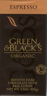 Green & Black's Organic Chocolate - Espresso Dark Chocolate, 70% Cocoa, 100g/3.5oz. (Single)