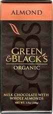 Green & Black�s Organic Chocolate - Milk Chocolate w/ Almonds Bar, 100g/3.5oz.(Single)