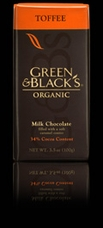 "Green & Black�s Organic Chocolate - ""Milk Chocolate with Crunchy Toffee Pieces"", 37% Cocoa, 100g/3.5oz."