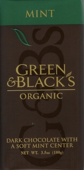 Green & Black's Organic Chocolate - Mint & Dark Chocolate Bar 100g/3.5oz (10 Pack).