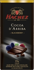 Hachez 77% Cocoa D'Arriba Blackberry with Cocoa Nibs, Superior Mild Dark Chocolate, 100g/3.5oz