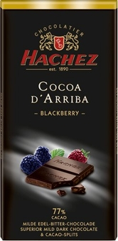 Hachez 77% Cocoa D'Arriba Blackberry with Cocoa Nibs, Superior Mild Dark Chocolate, 100g/3.5oz (10 Pack)