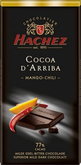 Hachez 77% Cocoa D'Arriba Mango Chili Chocolate, Superior Mild Dark Chocolate, 100g/3.5oz (10 Pack)