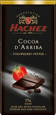 Hachez 77% Cocoa D'Arriba Strawberry Pepper Chocolate, Superior Mild Dark Chocolate, 100g/3.5oz (10 Pack)