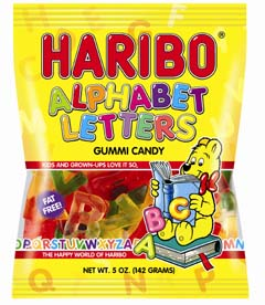 Haribo Alphabet Letters 5oz./142 grams (6 Pack)