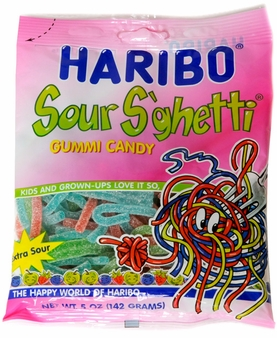 Haribo Sour S'ghetti 5oz./142 grams (6 pack)