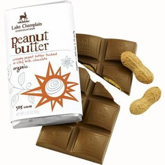 """Lake Champlain Chocolates - """"Organic Peanut Butter"""" Creamy Peanut Butter tucked in Silky Milk Chocolate 38% Cocoa, 3.25 oz. (10 Pack)"""