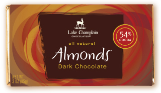 "Lake Champlain Chocolates - ""Almonds"" Bar, Dark Chocolate, 54% cocoa, 3 oz (6 Pack)."