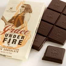 "Lake Champlain Chocolates - ""Grace Under Fire Chocolate Bar"", Pistachio and Red Pepper Dark Chocolate, 54% Cocoa, 85g/1.25oz."