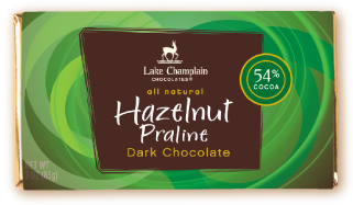 "Lake Champlain Chocolates - ""Hazelnut Praline"" Bar, Dark Chocolate, 54% Cocoa, 3 oz. (6 Pack)"
