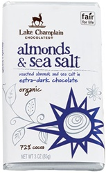 "Lake Champlain Chocolates - ""Organic Almonds & Sea Salt"" Roasted Almonds and Sea Salt in Extra-Dark Chocolate 72% Cocoa, 3 oz./85g"