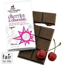"Lake Champlain Chocolates - ""Organic Cherries & Chocolate"" Fruit-forward dark chocolate studded with tart organic cherries 70% Cocoa, 3 oz/85g"
